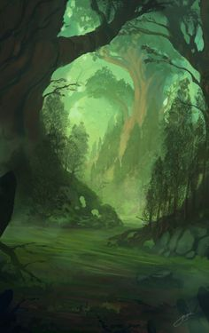 """ Fantasy Forest practice by *Blinck """