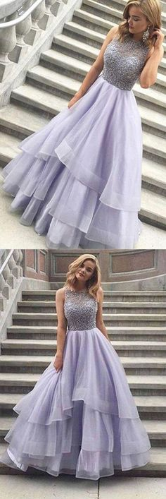 A-line Scoop Floor-length Long Prom Dress Evening Dress