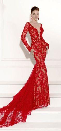 Tarik Ediz - red, long-sleeved lace dress - 2014