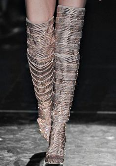 Francesco Scognamiglio at Milan Fashion Week Fall 2011 - Details Runway Photos Thigh High Boots, High Heel Boots, Over The Knee Boots, Shoe Boots, High Heels, Long Boots Outfit, Dress With Boots, Dress Shoes, Dance Shoes