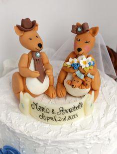 Wedding kangaroo cake topper Australian kangaroos by PerlillaPets