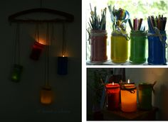 Some time ago I've shown you how easy is to paint inside some jars and promised to show some ideas to use them. And here it is: the romantics can use these jars like candle holders, that you can either hang them in trees or in the garden, or just for a romantic dinner. The pragmatics can use them just to keep things inside for you or for your kids  Today, Bucharest celebrates Creativity Day …. so be creative every day! Romantic Dinners, Bucharest, Mason Jar Lamp, Some Ideas, Candle Holders, Creativity, Table Lamp, Trees, Shapes