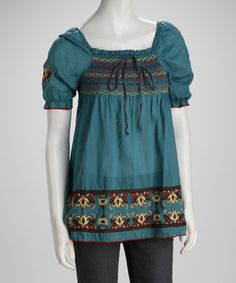 Take a look at this Teal Woven Embroidered Peasant Top by Ami Sanzuri on #zulily today!