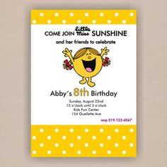 Little Miss Sunshine Birthday Party Invitation or Mr Men - Printable 5x7 Invitation also great for a baby shower. $16.50, via Etsy.