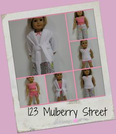 American Girl Doll Clothes  PJ Party 5 pc by 123MULBERRYSTREET