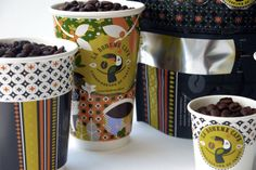 La Boheme Cafe packaging, great combo of patterns, graphics, and colors on all pieces.