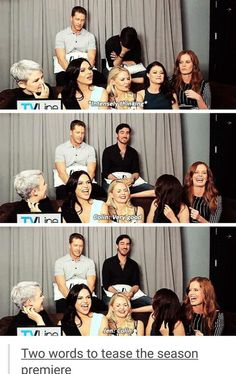 hahaha they are the best group of people ever. Very good. Once Upon a Time. Josh Dallas, Colin O'Donoghue, Ginnifer Goodwin, Lana Parrilla, Jennifer Morrison, Emilie de Ravin, Rebecca Mader.