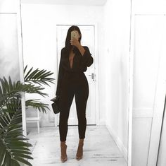"""K A T Y on Instagram: """"🖤🖤 @lasulaboutique"""" How To Feel Beautiful, Missguided, All Black, That Look, Fashion Beauty, Girly, Jumpsuit, Victoria, Photo And Video"""