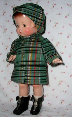 1930s Composition Shirley Temple / Effanbee Patsy REAL Oilcloth RAINCOAT and CAP - RARE Design