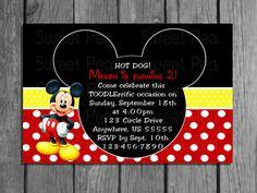 Mickey Mouse Club House Polka Dot Invitations Or by SweetPeaPrintz, $6.50