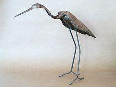 Metal sculpture hand hammered sheet steel heron by KleinManzanoArt