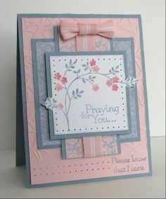 Good card layout pink and blue flowers feminine Making Greeting Cards, Greeting Cards Handmade, Stamping Up Cards, Get Well Cards, Pretty Cards, Card Sketches, Sympathy Cards, Flower Cards, Creative Cards