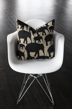 Black Elephants Decorative Pillow Cover Ebony Black by kassapanola, $38.00