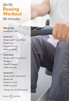 Cardio Workouts Rowing Machine Workouts: HIIT Sprints - Already bored of indoor treadmill training this winter? Bust out of your rut with these strength and endurance-building rowing machine cardio workouts. Lower Ab Workouts, Gym Workouts, At Home Workouts, Hiit, Rower Workout, Benefits Of Cardio, Indoor Rowing, Indoor Workout, Cardio Boxing
