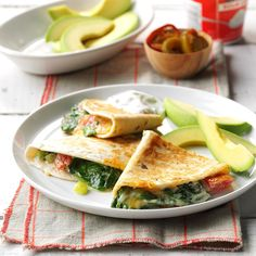 Spinach Quesadillas Recipe -My family gave these cheesy quesadillas oohs and aahs. Remove the spinach from the heat as soon as it wilts so it keeps a little bit of crunch. —Pam Kaiser, Mansfield, Missouri