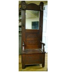 Antique Oak Entry Hall Tree With Storage Bench Beveled Mirror Butterfly Hook Pinterest