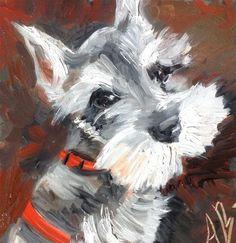 "Daily Paintworks - ""Schnauzer pup"" - Original Fine Art for Sale - © Annette Balesteri"