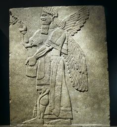 Relief of Winged Man-Headed Figure Facing Right The figures in the reliefs from King Ashur-nair-pal II's palace, including the king himself, are sometimes depicted with wrist- and headbands decorated with rosettes. Culture: Assyrian Medium: Alabaster Place Made: Nimrud, Assyria (Iraq) Dates: ca. 883-859 B.C.E.