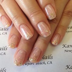 49 Classy & Stylish Short Nail Art Designs - Hair and Beauty eye makeup Ideas To. - - 49 Classy & Stylish Short Nail Art Designs - Hair and Beauty eye makeup Ideas To Try - Nail Art Design Ideas Clear Glitter Nails, Clear Acrylic Nails, Glitter French Manicure, Gold Nails, French Nails, Glitter French Tips, French Manicures, Glitter Art, Sparkle Nails