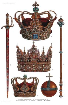Danish Crown Regalia - 1. Crown of Christian IV 1595. 2. Crown of Christian V 1665-70. 3. The queen's crown 1731. 4. Sceptre. 5. Sword of state. 6. Globus cruciger.