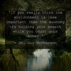 """"""" If you really think the environment is less important than the economy, try holding your breath while you count your money."""" - Dr. Guy McPherson -"""