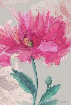 Flower Sketch 2 by Marietta Cohen Tropical Flowers, Yellow Flowers, Colorful Flowers, Beautiful Flowers, Flower Sketches, Sketch 2, 3d Shapes, Flower Fashion, Flower Arrangements