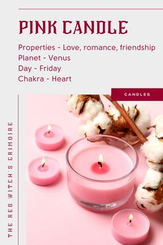 Pink Candle meaning and uses - Pink candles represent the purest form of love, love without selfishness. Use pink candles for love spells and rituals, spells focused on romantic love, rather than passion. Light a pink candle to encourage self-love, opening of the heart, affection and friendship. | Click to see the best-selling magic spell pink candles (+ reviews and why people love them). Candle Magic, Candle Spells, Candle Set, Candle Jars, Candle Meaning, Wiccan Rede, Magic Crafts, Color Meanings, Pink Candles