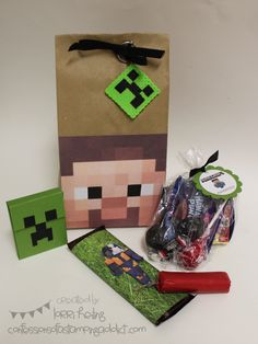"Favor Bag Idea:The bag is just a lunch bag with the ""Steve"" image printed on cardstock and taped to the front. The Hershey's candy bar is just wrapped in scrapbook paper that has grass on it, and then another Minecraft character taped to the front. The dynamite is a roll of pennies wrapped in red wrapping paper with some twine glued on the end. Last but not least is a candy bag with a ""Minecraft Munchies"" tag tied to it."