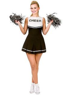 Adult high school #musical #cheerleader fancy dress black #white costume & pom po,  View more on the LINK: 	http://www.zeppy.io/product/gb/2/351421323655/