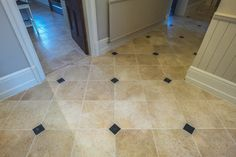 Papyrus Tumbled 40 x 40 stone floor tiles with 1 clipped corner and a cabochan Belgian Blue, Victorian Hallway, Hallway Flooring, Limestone Flooring, Tumbled Stones, Flagstone, Floors, Tile Floor, Cathedral