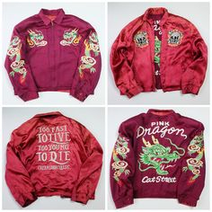 RARE Vintage Japanese CREAM SODA Classic Pink Dragon Ryu Harajuku Cat Street Embroidered Skull Skeleton Rock Punk Sukajan Jacket - Japan Lover Me Store
