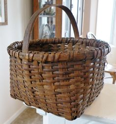 Very Old Mid-Atlantic Splint Hickory Basket w/ Rattan Weavers, Awesome Patina