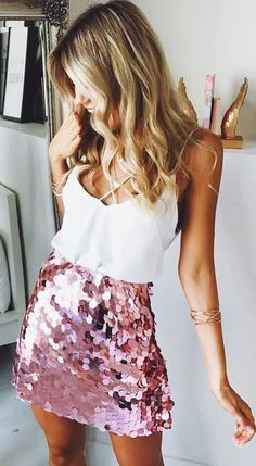 #winter #outfits white camisole and glittered pink miniskirt