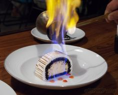 Breakfast?  Why not?   Flaming Baked Alaska Dessert Photo Sequence