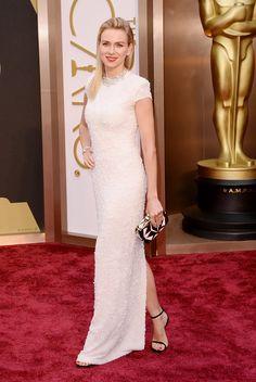 Naomi Watts in a beaded Calvin Klein Collection cap sleeve dress and Bulgari jewels. #oscars #redcarpet