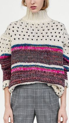#Farbberatung #Stilberatung #Farbenreich #SabinaBoddem www.farben-reich.com Knitting Designs, Knitting Stitches, Knitting Yarn, Knitting Patterns, Knitwear Fashion, Knit Fashion, Knit Basket, Fair Isle Knitting, Pulls