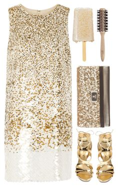 """Glitter and Gold -Rebecca Ferguson"" by tinasxx ❤ liked on Polyvore featuring Oscar de la Renta, Casadei, Kardashian Kollection and Philip Kingsley"