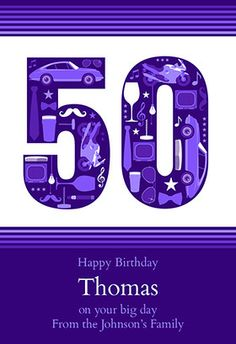 """Gentlemens 50th"" printable card. Customize, add text and photos. print for free! #birthday #card"