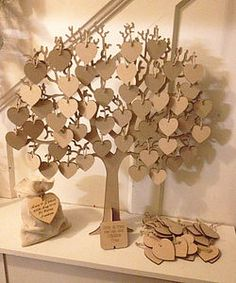 Wishing Tree Large Wooden Guest Book - guest books