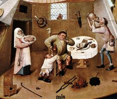 Hieronymus Bosch The Seven Deadly Sins and the Four Last Things (Detail: Gluttony) Oil on wood table . Hieronymus Bosch, Seven Deadly Sins, Prado, Illustration, Wood Table, Painting, Madrid, Oil, Detail