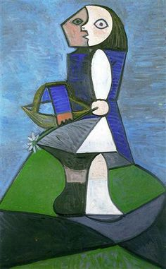 Child with flower, 1945 - Pablo Picasso Cubism, Surrealism Pablo Picasso, Kunst Picasso, Art Picasso, Picasso Paintings, Georges Braque, Spanish Painters, Spanish Artists, Cubist Portraits, Art Visage