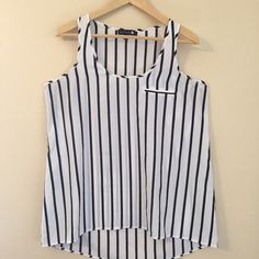 Cotton On Black & White Striped High Low Tank Black & White Vertical Striped High Low Tank with Faux Pocket On Front Upper Left Side...Only Worn Once...Tank Is On The Longer Side Cotton On Tops Tank Tops