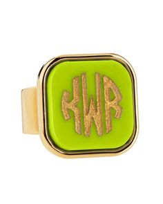 Moon and Lola Block-Lettered Square Acrylic Monogram Ring from Neiman Marcus on shop.CatalogSpree.com, your personal digital mall.