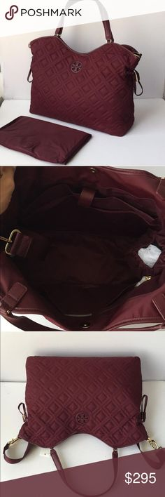 Nwt Tory BURCH Diaper Bag Brand new with tags authentic Tory Burvh Diaper Bag. Beautiful nylon quilted easy to clean material. Crisp cranberry color finished with gold hardware. Leather straps. Magnetic top closure along with drawstrings both for function and fashion. Multiple interior storage pockets along with two bottle pockets. Diaper changing pad is includes. Two side stroller straps as shown in the picture make this bag genius!! Tory Burch Bags Baby Bags