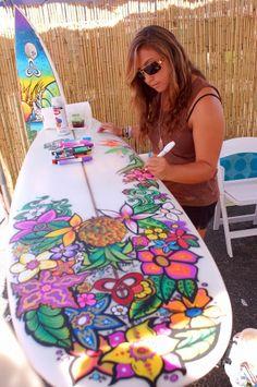 Create. Surfboard art by Heather Ritts.