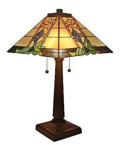 """Amora Lighting handcraft Stained Glass Tiffany Style Mission Table Lamp 23"""""""