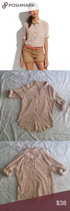 Madewell Silk Boyshirt in Checkbox Luxe silk and a retro print meet a laid-back, boy-meets-girl attitude. Button-down front with roll tab sleeves. Boyfriend fit. 100% silk, dry clean only. Size M, see photos for measurements. Excellent used condition. Madewell Tops Button Down Shirts