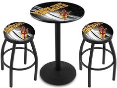 Arizona State Sun Devils Fork D2 Black Pub Table Set. Available in 28-inch or 36-inch diameter Table Top. Visit SportsFansPlus.com for details.