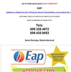 NO TE COMPLIQUES MAS!!!! GAS A TIEMPO 24/7 EAP ENERGIA ALTERNATIVA DEL PETROLEO UNICOS CON ENTREGA LAS 24 HORAS DEL DIA ACEPTAMOS TODAS LAS TARJETAS DE CREDITO VIA TELEFONICA DESDE LACOMODIDAD DE DONDE ESTES. Tels: 809.328.4872 809.435.9453  Santo Domingo, Distrito Nacional