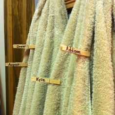 House full of guests? Clip clothespins (with guests' names) to distinguish their towels... Very smart!  For the Destin trips.